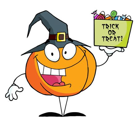 Pumpkin Character Holding Up A Tub Of Candy Stock Vector - 6903481
