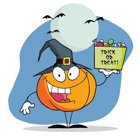 Pumpkin Character With Halloween Candy Under Bats And A Full Moon Vector