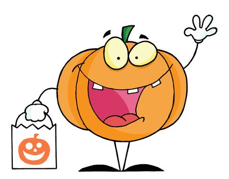 treating: Pumpkin Character Waving And Carrying A White Trick Or Treat Bag