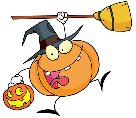 Leaping Pumpkin Character Witch With A Jackolantern And Broom Stock Vector - 6906139