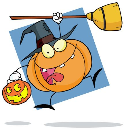 Jumping Pumpkin Character Witch With A Jackolantern And Broom Banco de Imagens - 6906357