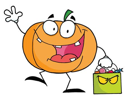 trick or treat:  Pumpkin Character Waving And Carrying A Green Trick Or Treat Bag