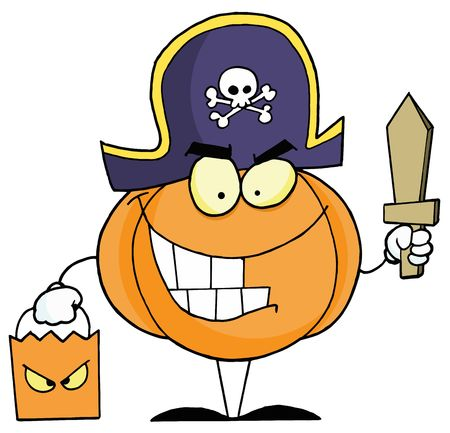 trick or treating: Pumpkin Character Trick Or Treating In A Pirate Costume Illustration