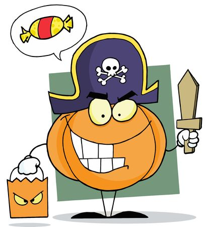 Pumpkin Character Thinking Of Candy, Trick Or Treating In A Pirate Costume Illustration