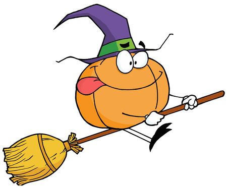 Pumpkin Character Witch On A Broom Stick