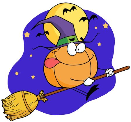 Pumpkin Character Witch Flying By A Full Moon And Bats On A Broom Stick Vector