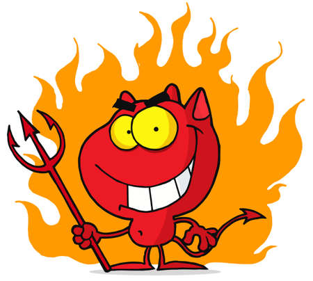 devil cartoon: Red Halloween Devil With Fire And A Trident