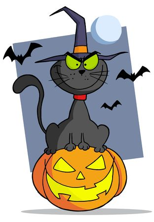 Evil Black Witch Cat Sitting On A Jack O Lantern, With Bats And A Full Moon Vector