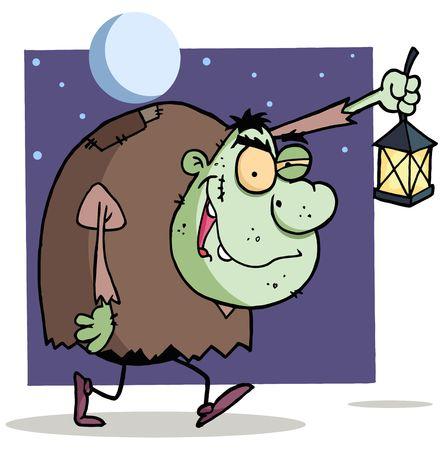 corcovado: Igor verde caminando con una linterna en la noche