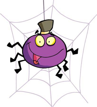 보라색 할로윈 거미는 모자를 쓰고 웹에 휴식