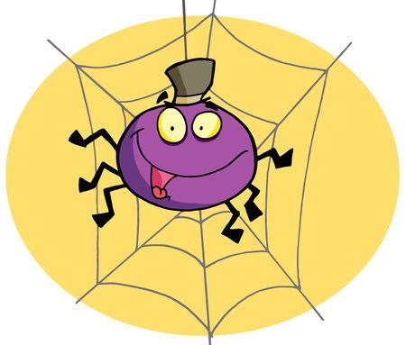 halloween spider: Purple Halloween Spider On A Web