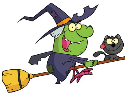 wicked witch: Wicked Halloween Witch And Cat Flying On A Broom Stick Illustration