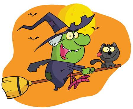 Wicked Halloween Witch And Cat Flying By Bats And A Full Moon On A Broom Stick Stock Vector - 6906763