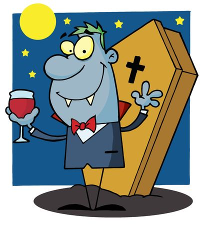 coffins: Vampire Drinking A Glass Of Blood In Front Of His Coffin At Night