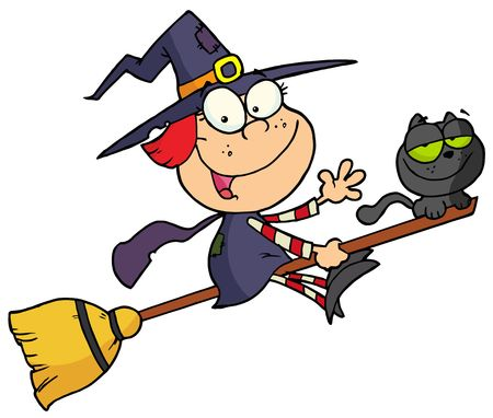 broomstick: Cartoon character halloween little witch Illustration