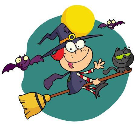 Halloween kleine heks Stock Illustratie