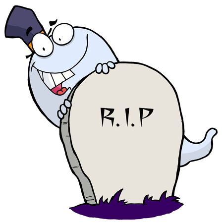 Cartoon character happy ghost behind the tombstone Stock Vector - 6905675