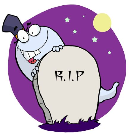 Cartoon character happy ghost behind the tombstone Vector