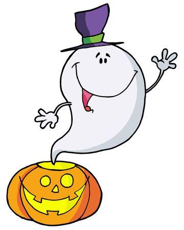 Cartoon character happy ghost pumpkin leaves Vector
