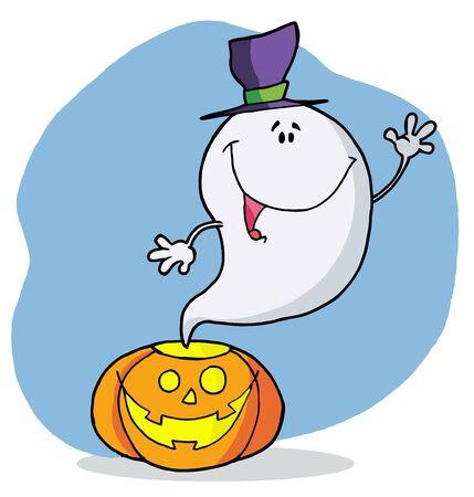 Cartoon character happy ghost pumpkin leaves Banco de Imagens - 6905777