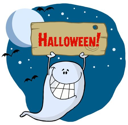 Ghost Holding Up A Wooden Halloween Sign Stock Vector - 6906174