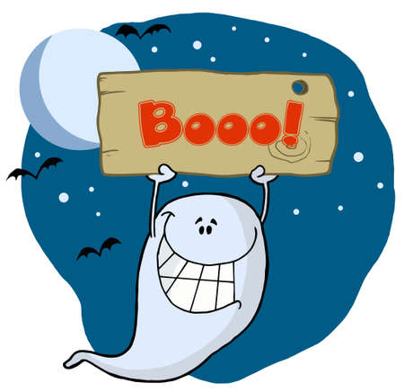 Ghost Holding Up A Wooden Boo Sign Stock Vector - 6906099