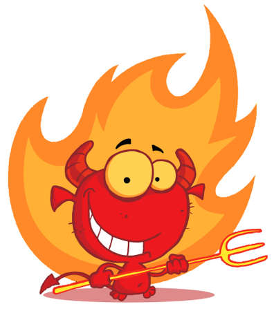 devil cartoon: Little devil with pitchfork In Flames