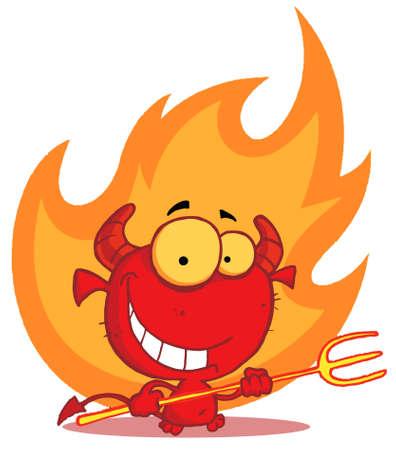 diavoli: Piccolo diavolo con il forcone In Flames  Vettoriali