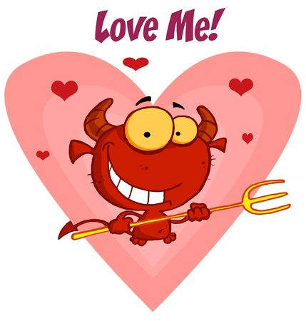 lucifer: Happy little devil with pitchfork with Love me sign