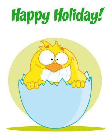 Happy Yellow Chick Vettoriali