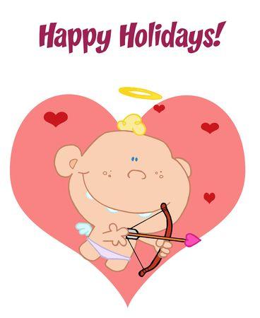 Cupid wishesh you happy holidays! Stock Vector - 6906071