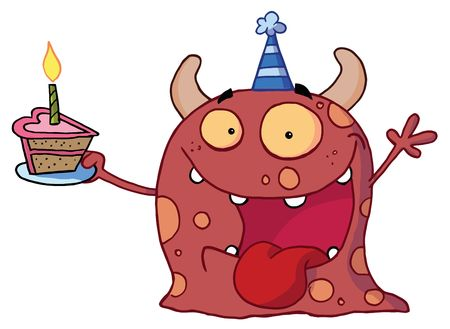 b day parties: Excited Birthday Monster Wearing A Party Hat And Holding A Slice Of Cake, Screaming And Holding An Arm Up