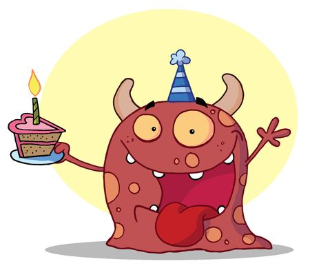 b day parties: Hyper Partying Monster With Horns And Spots, Wearing A Blue Party Hat And Holding A Cupcake With A Candle Lit At A Birthday Party Illustration