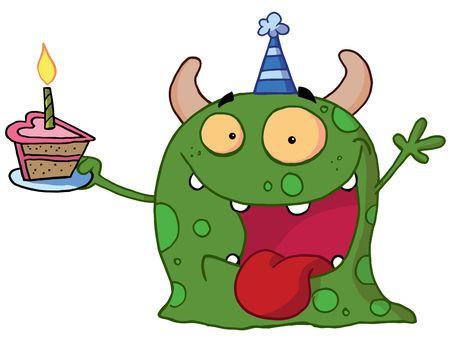 Manchado monstruo verde de cumpleaños Wearing A Hat de partido y holding de un sector de Cake  Foto de archivo - 6906552