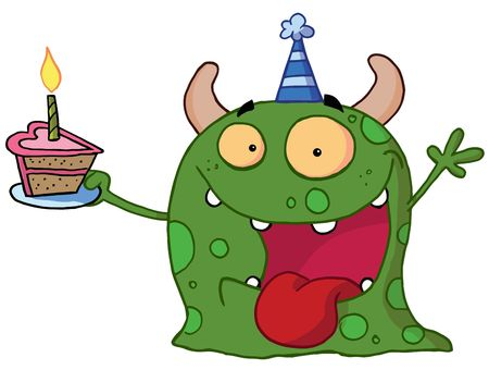 party hat: Spotted Green Birthday Monster Wearing A Party Hat And Holding A Slice Of Cake
