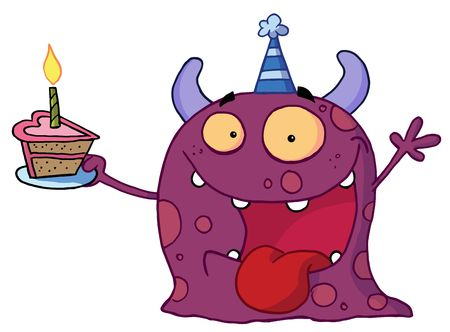 b day parties: Spotted Purple Birthday Monster Wearing A Party Hat And Holding A Slice Of Cake