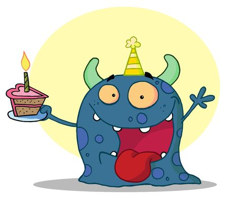b day parties: Happy blue monster celebrates birthday with cake