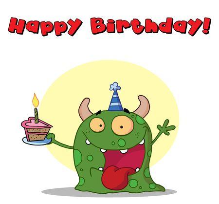 Happy green monster celebrates birthday with cake Stock Vector - 6906681