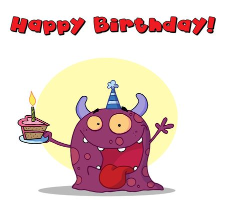 b day parties: Happy purple monster celebrates birthday with cake Illustration