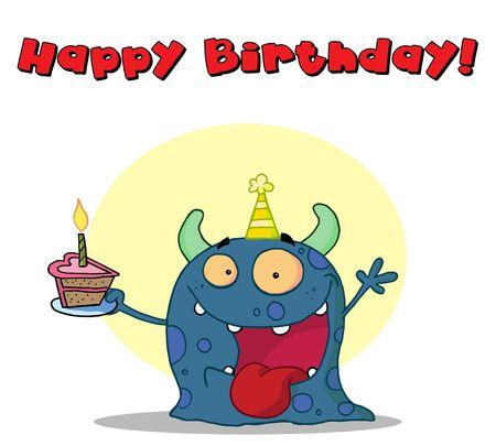 b days: Happy blue monster celebrates birthday with cake
