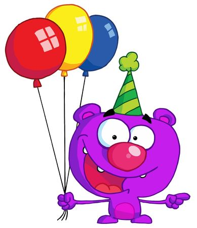 b days:  Bear in party hat with balloons