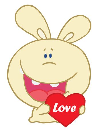 Yellow Rabbit Laughing And Holding a Red Heart Love Valentine Vector