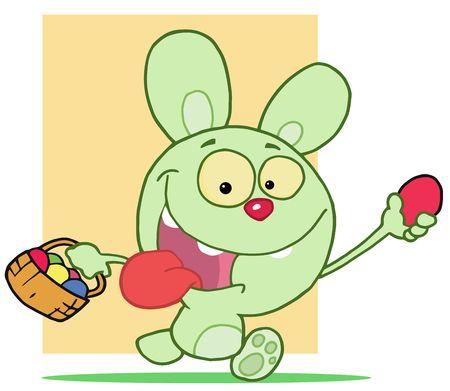 Happy Rabbit Running With Eggs Vector