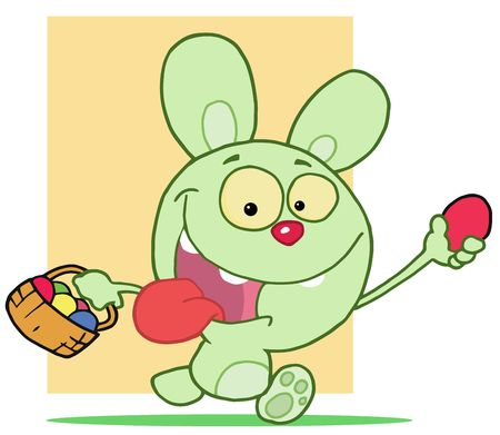 Happy Rabbit Running With Eggs Stock Vector - 6905903