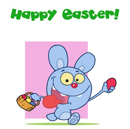 Blue easter rabbit running and holding up an egg and carrying a basket Stock Vector - 6905962