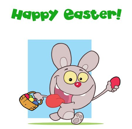 Grey easter rabbit running and holding up an egg and carrying a basket Stock Vector - 6905963