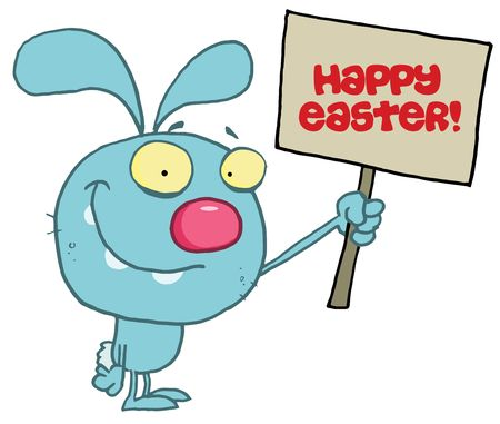 Rabbit Holding Up A Happy Easter Greeting Sign Stock Vector - 6906124