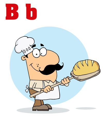 Funny Cartoons Alphabet-Male Baker With Letters B Vector