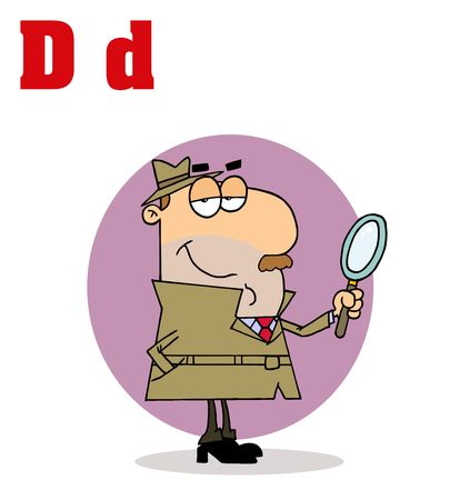 Funny Cartoons Alphabet-Detective With Letters D 矢量图像