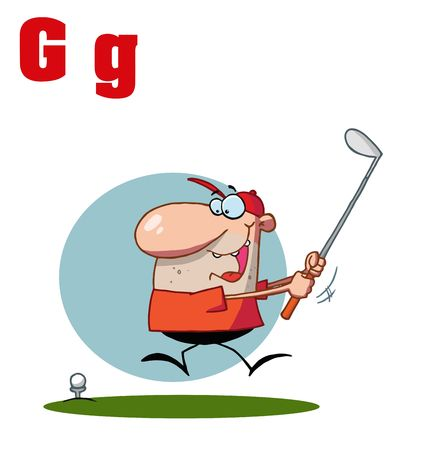 letter alphabet pictures: Funny Cartoons Alphabet-Male Golfer With Letters G Illustration